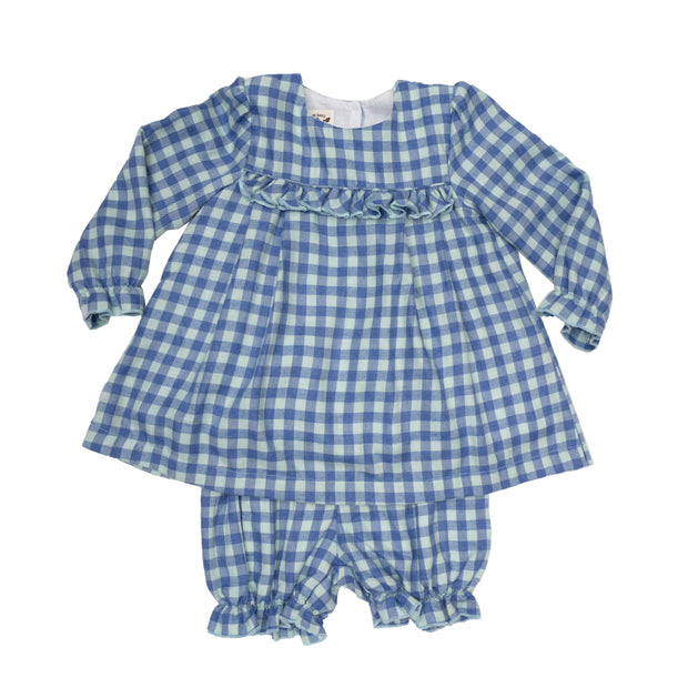 ALEIGHA BLUE CHECK BLOOMER SET