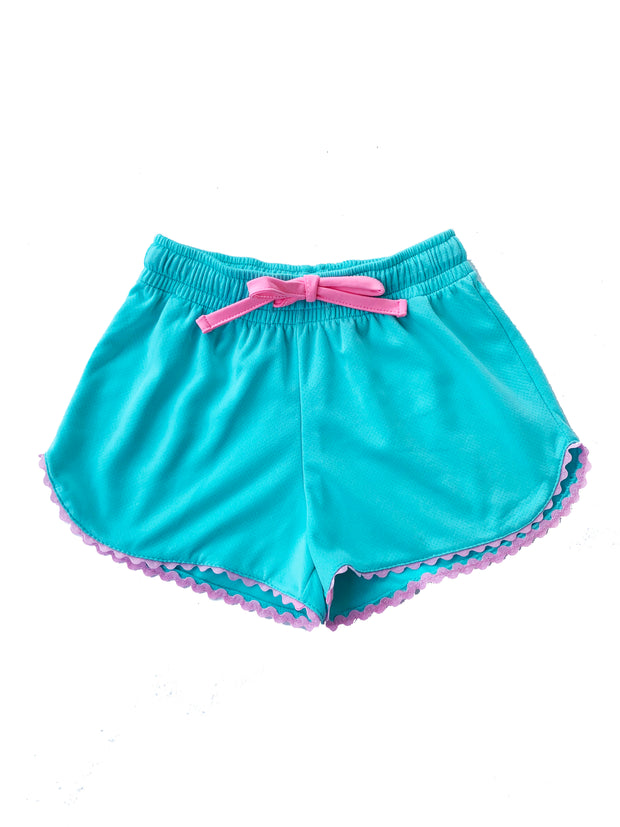 EMILY ATHLEISURE SHORTS IN TEAL