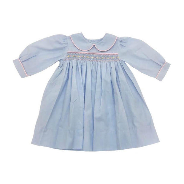 BLUE MICRO STRIPE DRESS WITH PINK & YELLOW SMOCKING