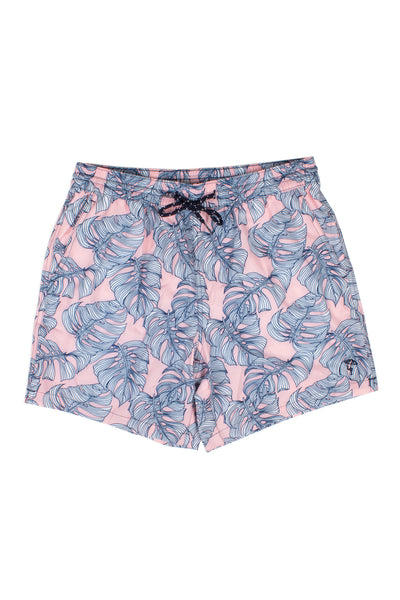 DAD & ME: MENS PINK MONSTERA SWIM TRUNKS