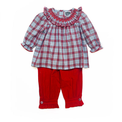 RED & BLUE PLAID PANT SET