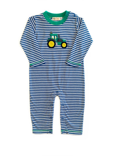 NAVY STRIPE TRACTOR PLAYSUIT