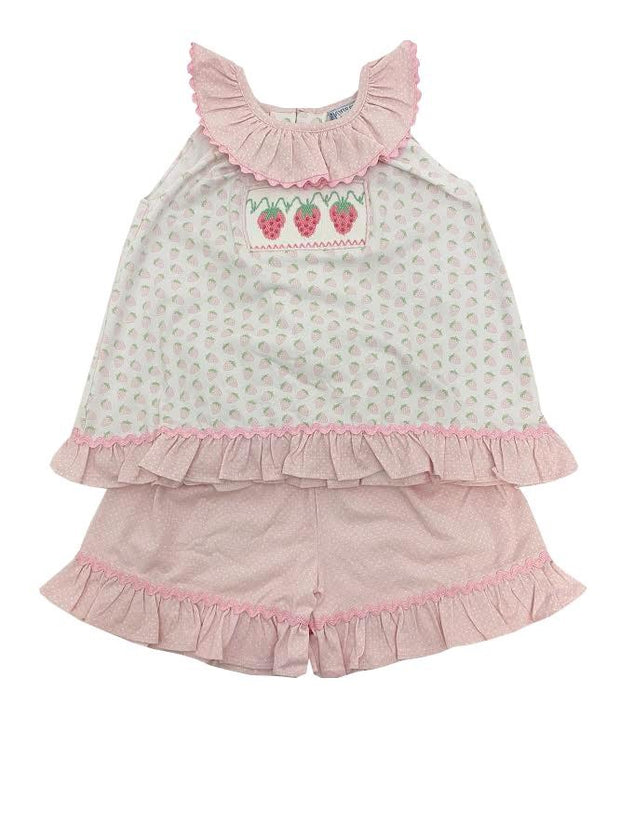 STRAWBERRY SMOCKED SHORT SET
