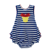GIRLS STRIPE CRAB SUNSUIT