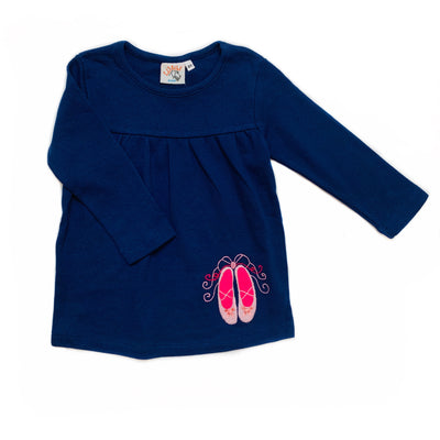 NAVY L/S SWING TOP WITH BALLET SHOES