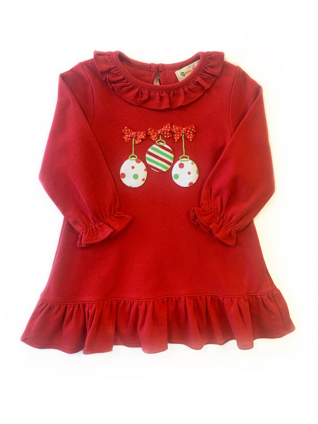 RED RUFFLE ORNAMENT DRESS