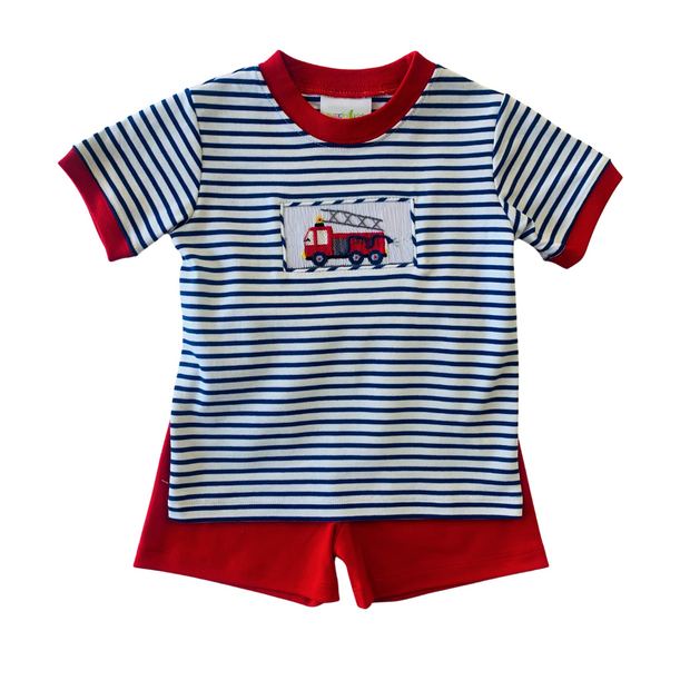 FIRETRUCK STRIPED SHORT SET