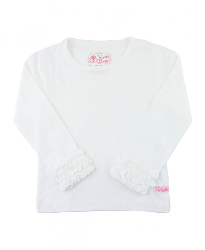 WHITE RUFFLED LAYERING TEE