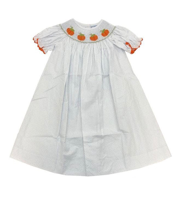 PUMPKIN SMOCKED BISHOP DRESS