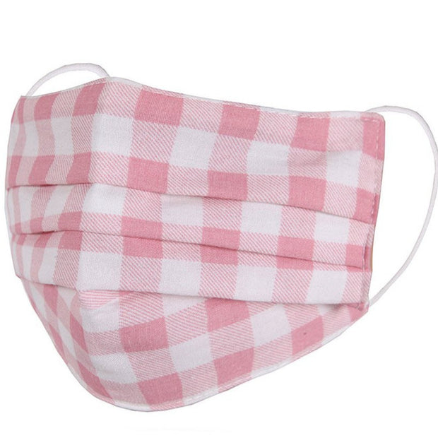 KIDS PINK GINGHAM FABRIC FACE MASK