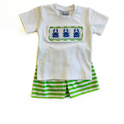 GREEN STRIPE CRAB SHORT SET