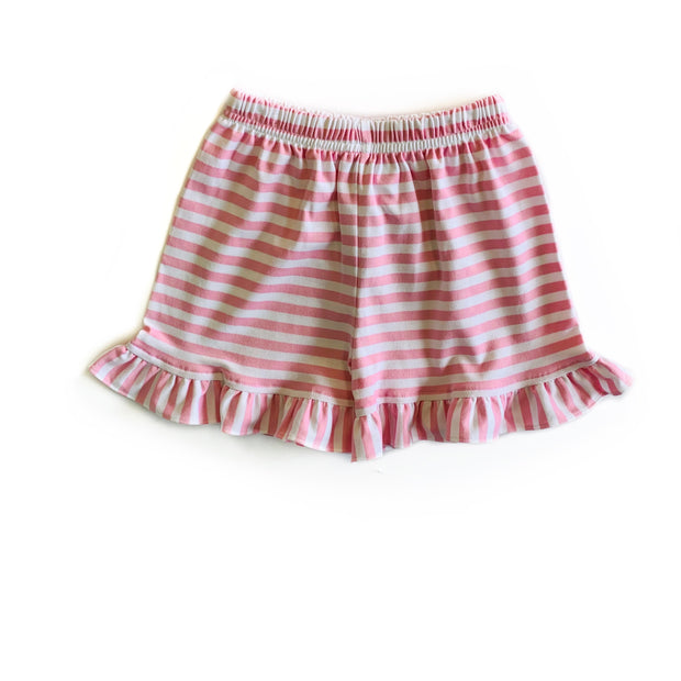 PINK STRIPE RUFFLE SHORTS