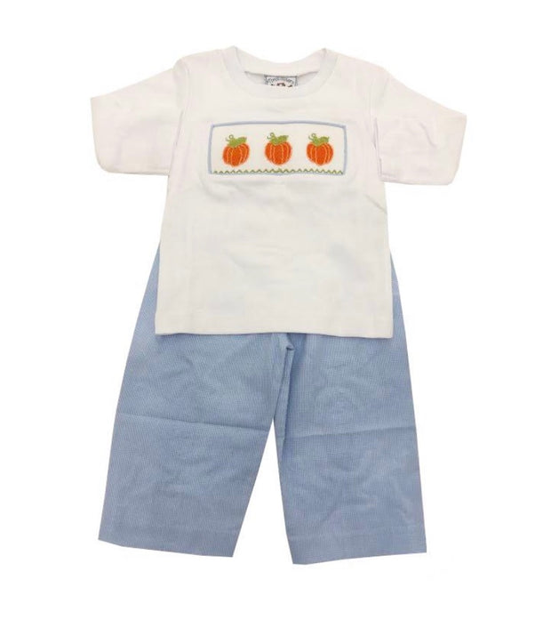 3 PUMPKIN SMOCKED PANT SET