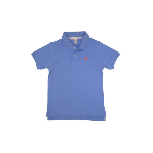 PRIM & PROPER POLO IN BARBADOS BLUE WITH ROYAL PALM RASPBERRY STORK