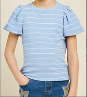 BLUE PUFF SLEEVE STRIPE TOP