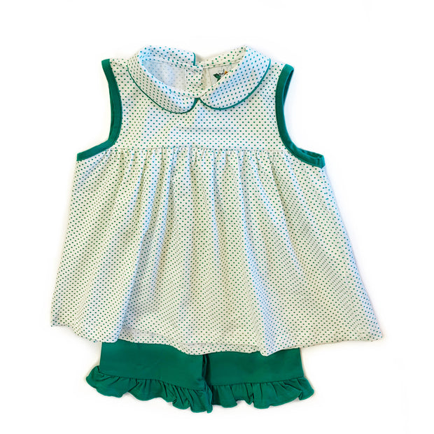 GREEN POLKA DOT SHORT SET