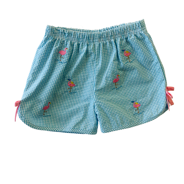 FLAMINGO EMBROIDERED SHORT SET