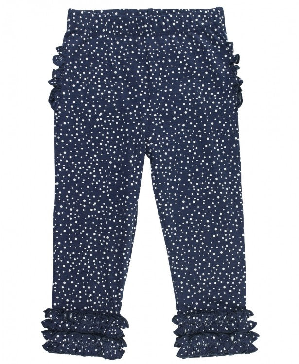 NAVY DOTS RUFFLE LEGGINGS