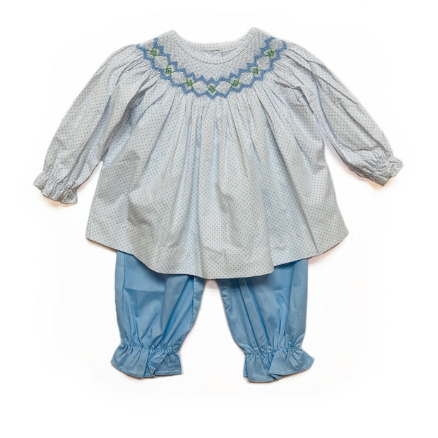 BLUE DOT CORDUROY BLOOMER SET