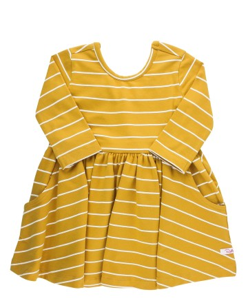 YELLOW STRIPE TWIRL DRESS