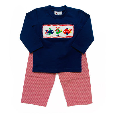 AIRPLANES SMOCKED PANT SET
