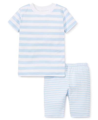 LIGHT BLUE STRIPED PAJAMA SHORT SET