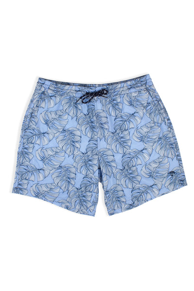 DAD & ME: MENS BLUE MONSTERA SWIM TRUNKS