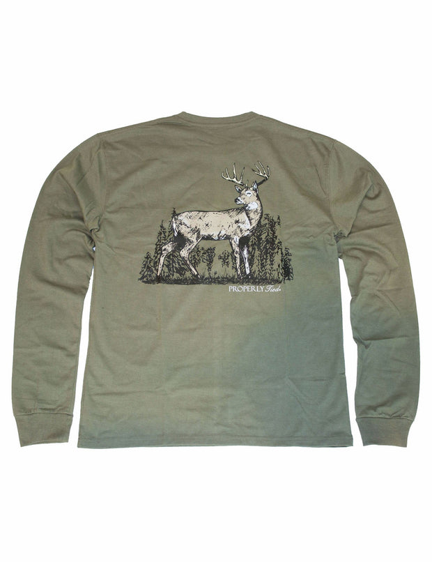 PROPERLY TIED L/S TEE - WHITETAIL