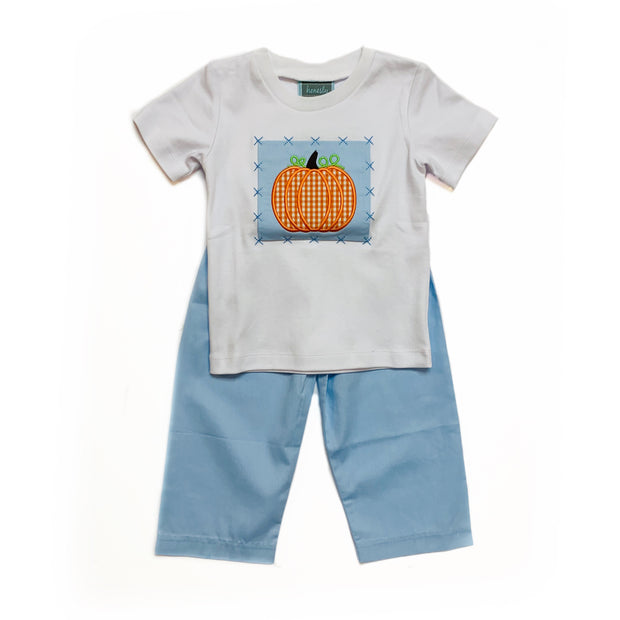 STITCHED PUMPKIN APPLIQUE PANT SET