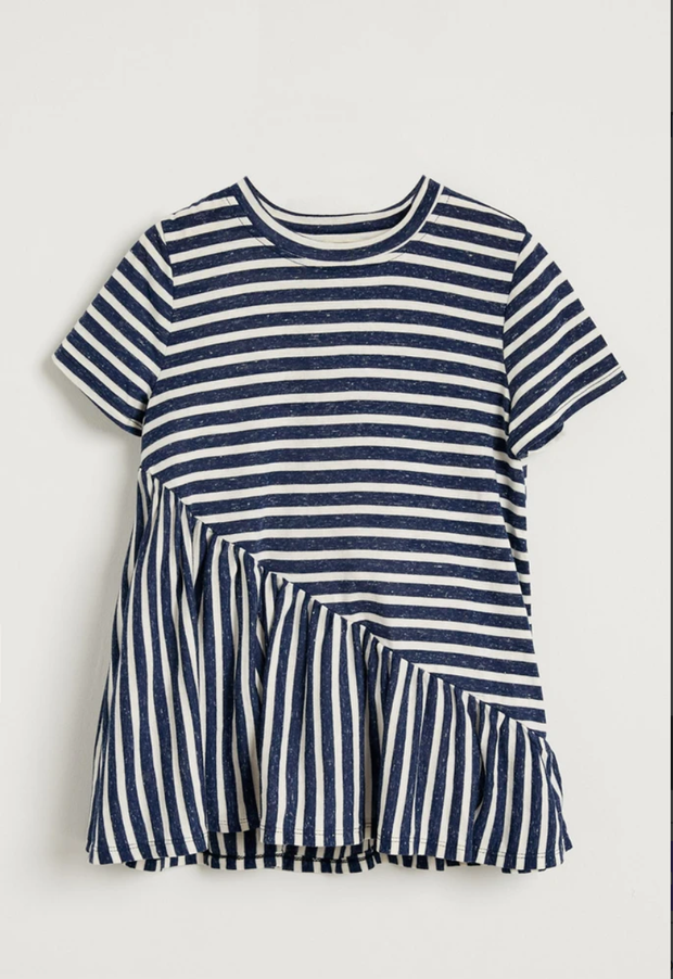 NAVY STRIPE RUFFLE TUNIC