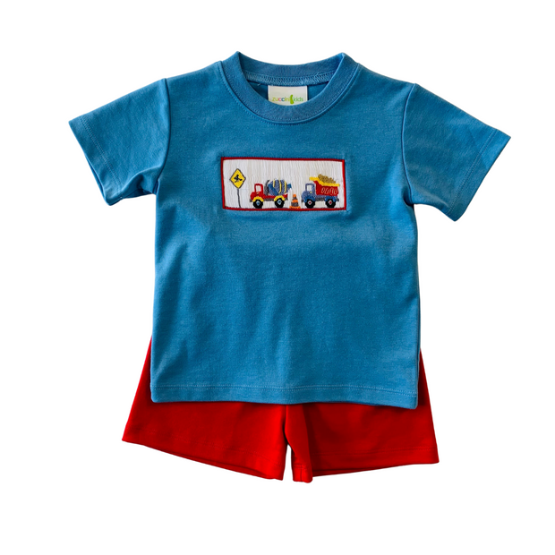 CONSTRUCTION SMOCKED SHORT SET