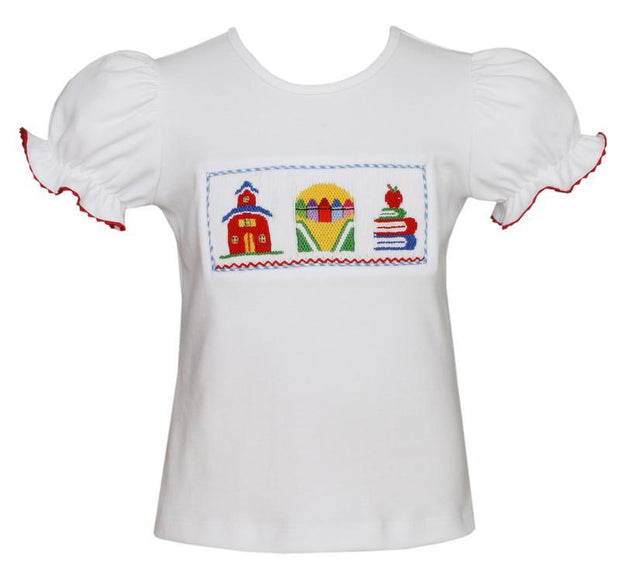 GIRLS SMOCKED SCHOOL SHIRT