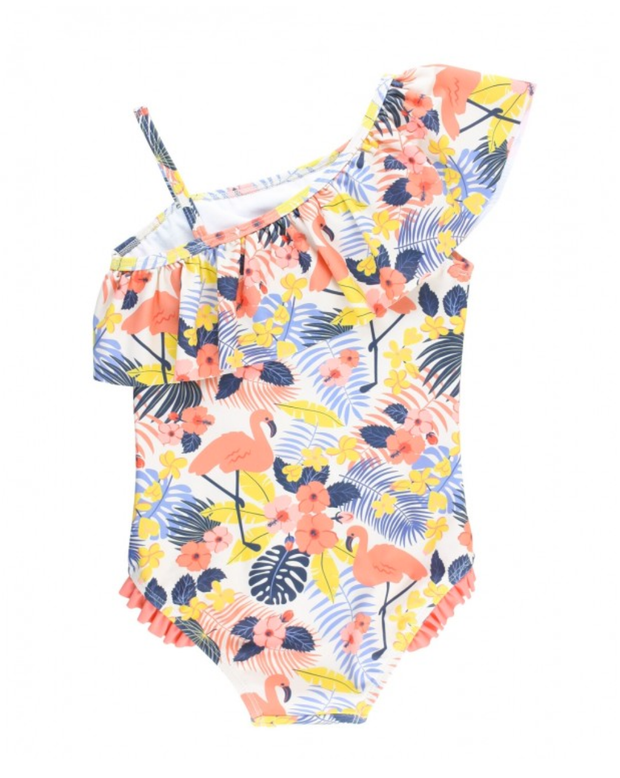 TROPICAL FLAMINGO ONE SHOULDER SWIMSUIT