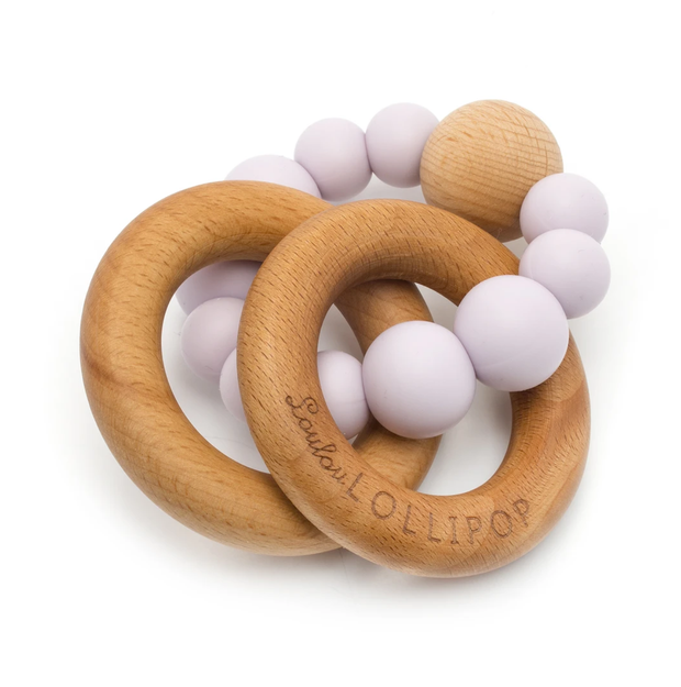 LILAC SILICONE & WOOD TEETHER