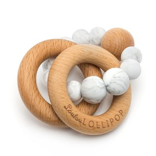 BUBBLE SILICONE & WOOD TEETHER IN MARBLE