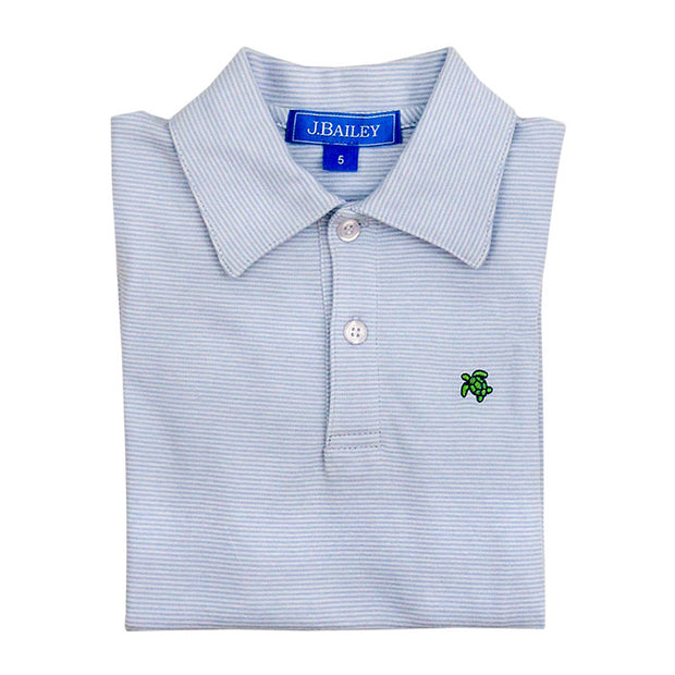 HENRY SHORT SLEEVE STRIPED POLO IN LIGHT BLUE