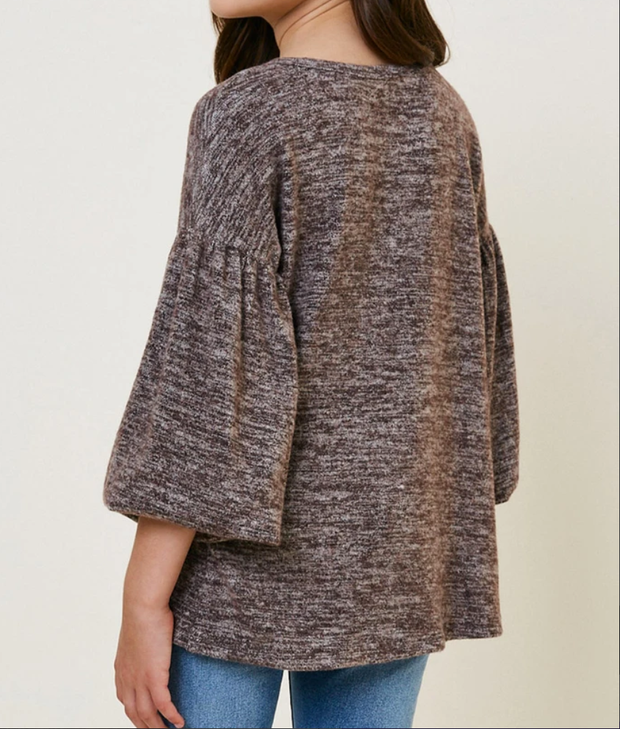 GREY BALLOON SLEEVE TOP