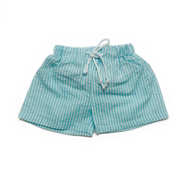 TS MINT/WHITE SEERSUCKER SWIM TRUNKS