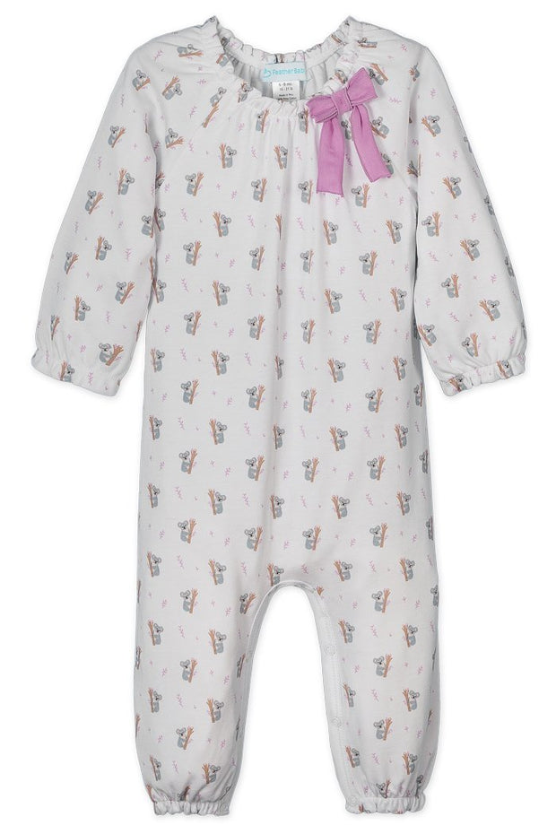 FEATHER BABY BOW ROMPER - KOALAS