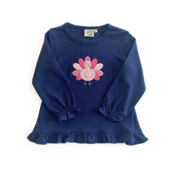 NAVY TURKEY RUFFLE TOP
