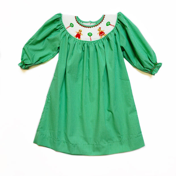 GREEN GINGHAM GINGERBREAD BISHOP DRESS