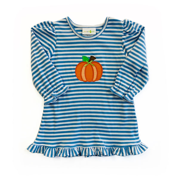 BLUE STRIPE PUMPKIN RUFFLE DRESS