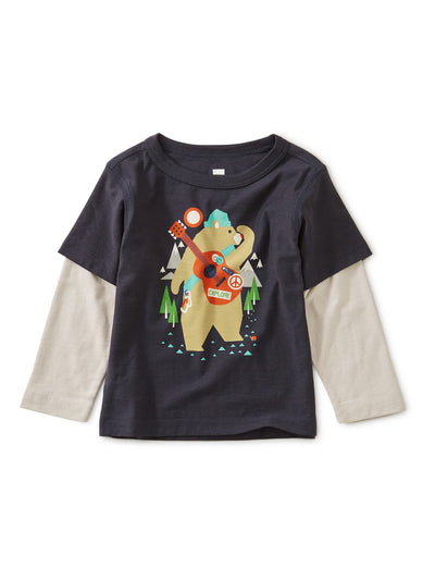 CAMP BEAR LAYERED SLEEVE GRAPHIC TEE