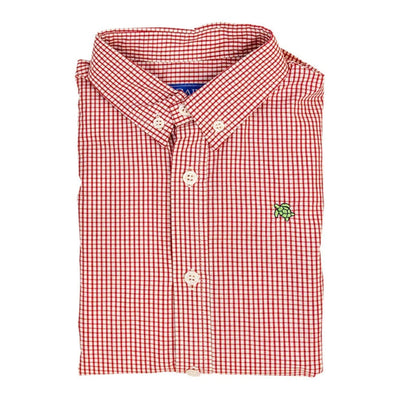 RED WINDOWPANE ROSCOE BUTTON DOWN