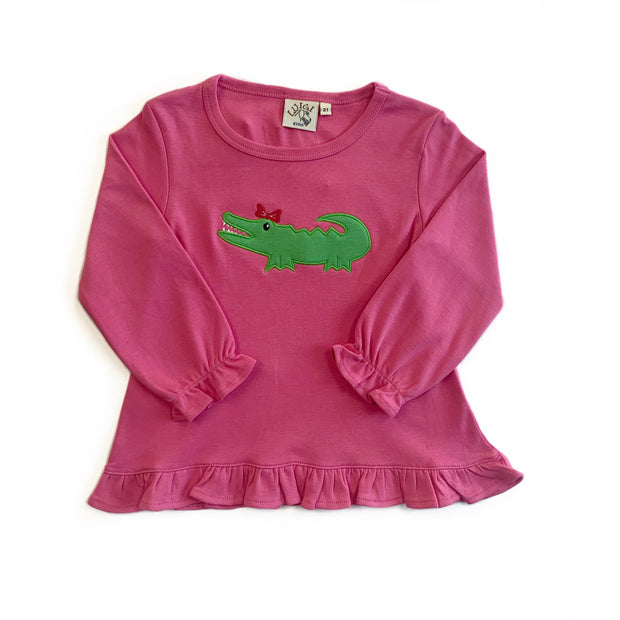 PINK ALLIGATOR RUFFLE TOP