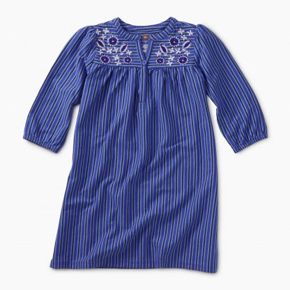 EMBROIDERED HENLEY DRESS - MAJORELLE BLUE