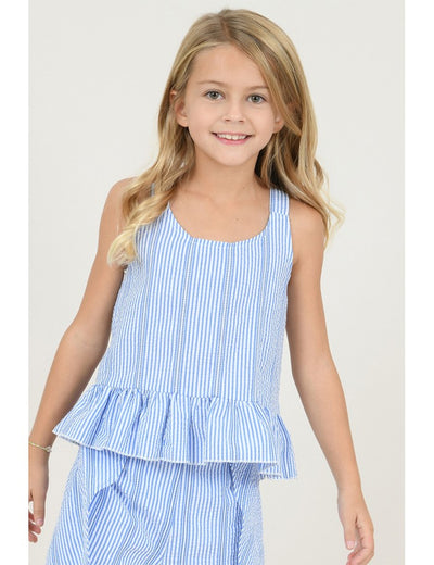 BLUE STRIPE PEPLUM TOP