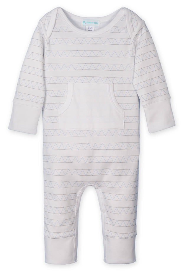 KANGAROO ROMPER - TRIANGLES ON WHITE