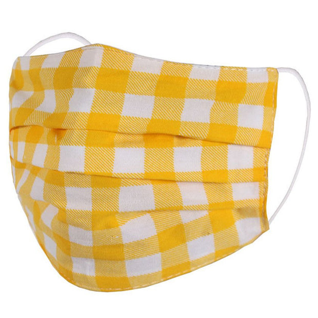 KIDS YELLOW GINGHAM FABRIC FACE MASK