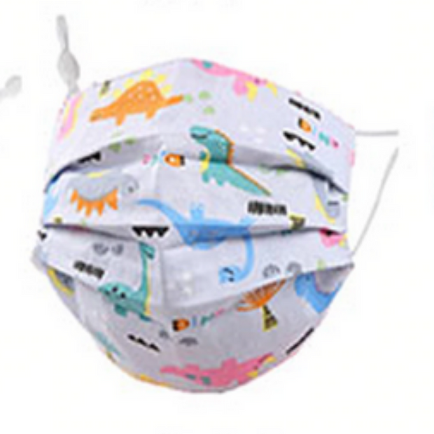 KIDS DINOS ON BLUE FABRIC FACE MASK